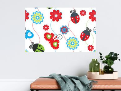 Ladybirds and butterflies seamless pattern