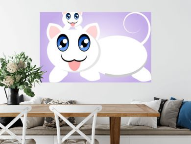 Cats on violet background
