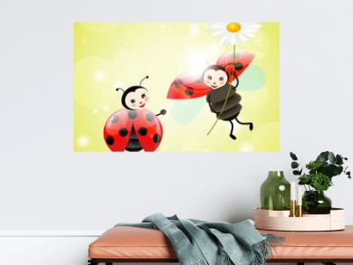 two ladybugs with a daisy