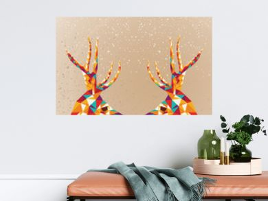 Merry Christmas colorful reindeers shape.