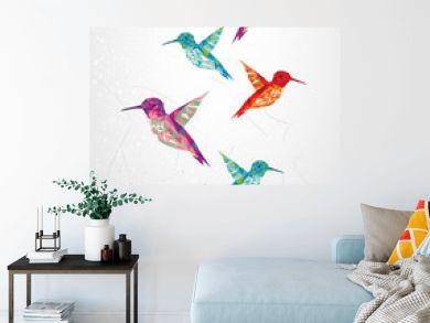 Beautiful humming birds illustration.