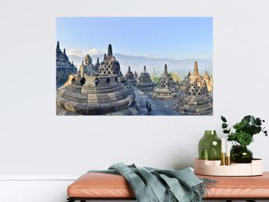Panorama Borobudur Temple, Yogyakarta, Java, Indonesia.