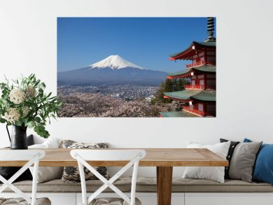 View of mountain fuji in spring season from chureito pagoda at Kawaguchiko , Yamanashi prefecture