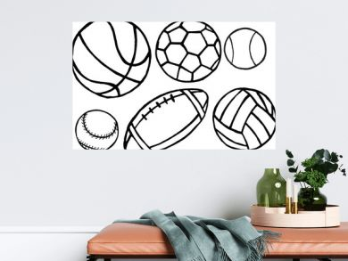 Set of different sport balls. Vector