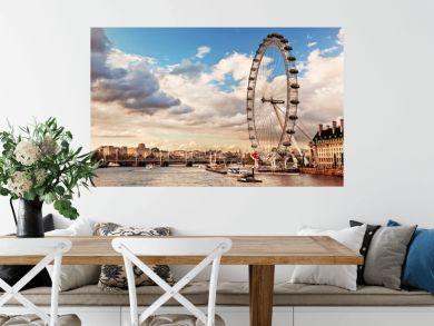 London, England the UK skyline. The River Thames