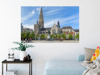 Cathedral and statue of Peter Paul Rubens in Antwerp
