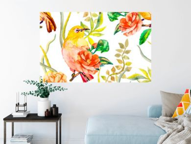 Watercolor pattern. Tropical birds and flowers. White-eye bird
