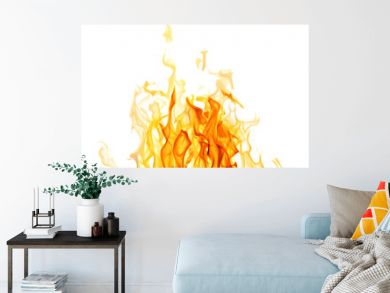 light and dark yellow flame isolated on white