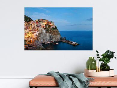 Manarola, Cinque Terre (Italian Riviera, Liguria) high definition panorama at twilight