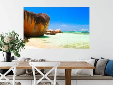 Panoramic view of a tropical island beach, Seychelles, Indian Ocean.