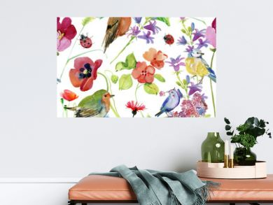 Beautiful Watercolor Summer Garden Blooming Flowers Seamless Pattern on White Background