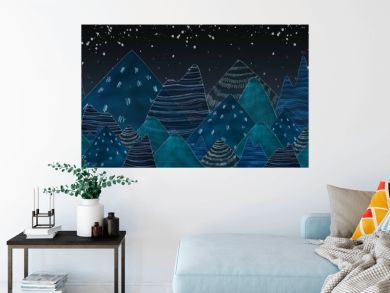 Dark blue mountains in the night.Used color tool and picture cre