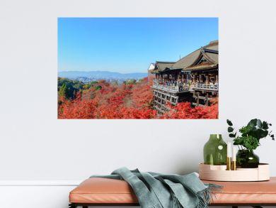 Kyoto, Japan - December 8, 2015: Panorama of Kiyomizu-dera template