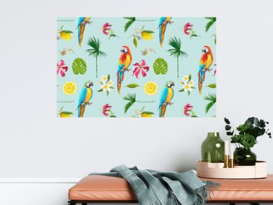 Tropical Background. Toucan Bird. Cactus Background. Tropical Flowers