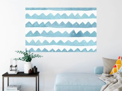 Seamless watercolor branding texture, based on toothed blue and aqua handdrawn stripes. Simple, stylish, rough. Raster illustration is full colored, vibrant, with associations of sea and mountains