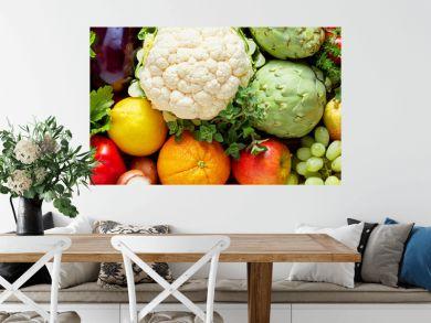 Panoramic wide organic food background