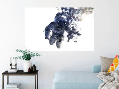 Modern space art. Astronaut at spacewalk. Dust of universe, smoke, isolated on clear white background. Elements furnished by NASA