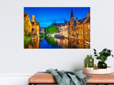 Bruges. Channel Rozenhoedkaai view to Perez de Malvenda house