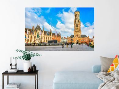 Market Square (Markt) Provincial government in Bruges, Belgium.