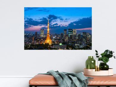 東京タワーと東京都心の夕景