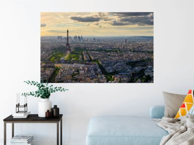 Skyline of Paris with Eiffel Tower in Paris, France