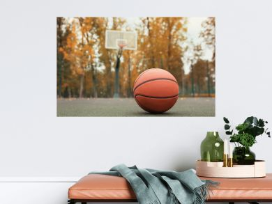 basketball ball on the outdoors cour