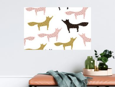 Holiday seamless pattern with hand drawn foxes. Trendy scandinavian vector background. Perfect for wrapping paper, fabric, textile