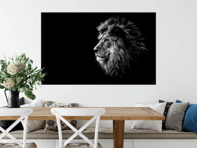 lion in black and white with blue eyes