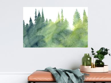 watercolor landscape with trees