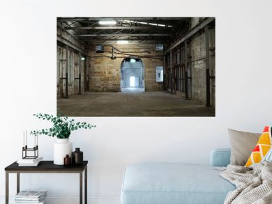 Inside of old abandon factory. A structure interior of empty industry warehouse. An abandon old factory with no equipment and machine. Image of rustic factory room structure made from iron and steel.