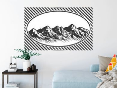 Set of Mountain range silhouettes. Blue  illustrations with copy-space. Engraved style.