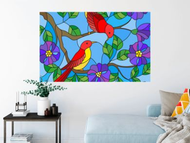 Illustration in stained glass style with two two bright red birds on the branches of blooming wild rose on a background sky