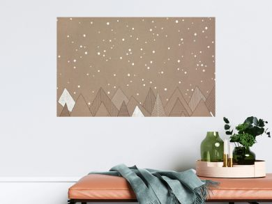 hand made illustration of snow falling over a forest, on natural, brown paper