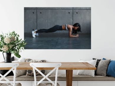 fitness woman doing planing in gym