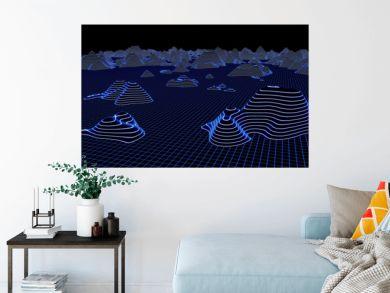 Large landscape hologram, 3d rendering