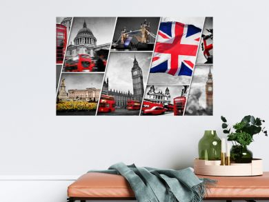 Collage of the symbols of London, the UK