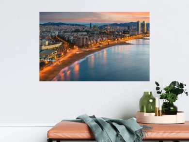 Barcelona beach on morning sunrise