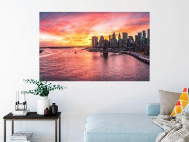 Manhattan und Brooklyn Bridge Panorama in New York City, USA