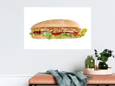Chicken skewers sandwich on white background