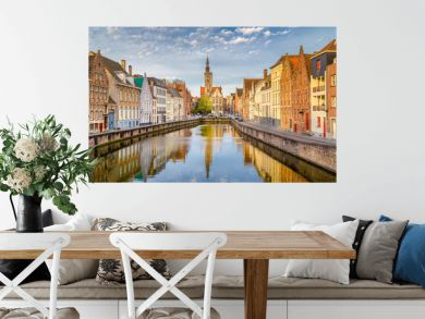 Spiegelrei canal at sunrise, Brugge, Flanders, Belgium