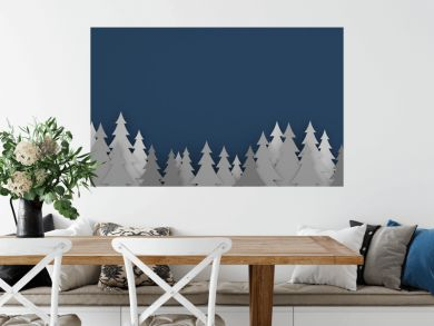 paper art scene of pine tree on flat background,Minimal concept of forest,3D rendering