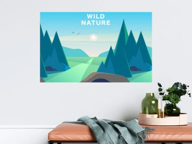 Vector flat summer landscape illustration with mountains, sun, fir trees, road, bush, meadows and blue clouded sky. Perfect for travel and camping tours posters, placards, flayers, leaflets and banner
