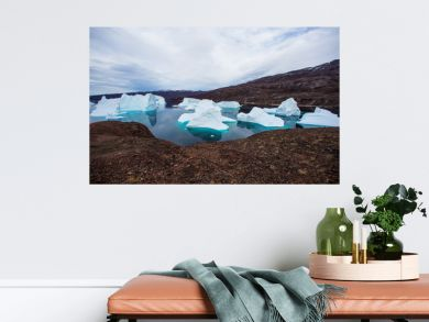 massive Icebergs floating in the fjord scoresby sund, east Greenland