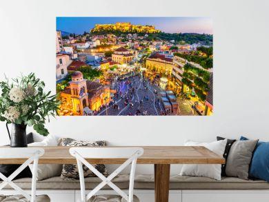 Athens, Greece -  Monastiraki Square and Acropolis