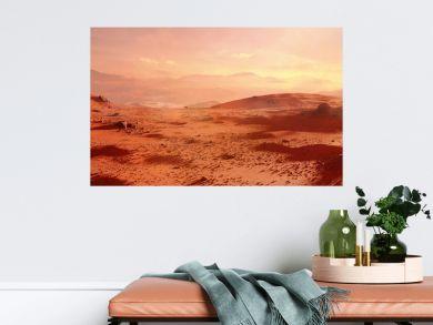 landscape on planet Mars, scenic desert scene on the red planet