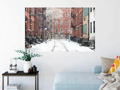 Snowy winter scene on Gay Street in the Greenwich Village neighborhood of Manhattan in New York City