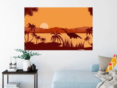 vector panorama of  prehistoric tropical lake, with dinosaurs silhouettes