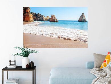 Summer sandy beach (Algarve, Costa Vicentina, Portugal).  Beautiful natural summer vacation travel concept.