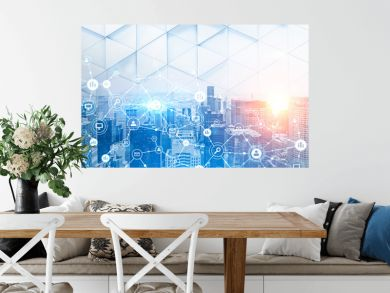 Modern cityscape network icons double exposure