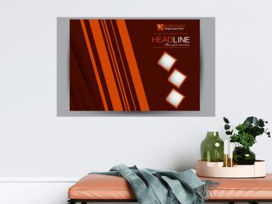 Flyer, brochure, billboard template design landscape orientation for business, education, school, presentation, website. Red and orange color. Editable vector illustration.